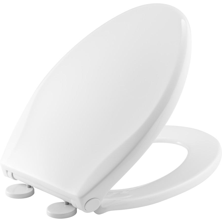 """Asiento para baño alargado color blanco de plástico """"Push n Clean"""" Cierre Lento"""