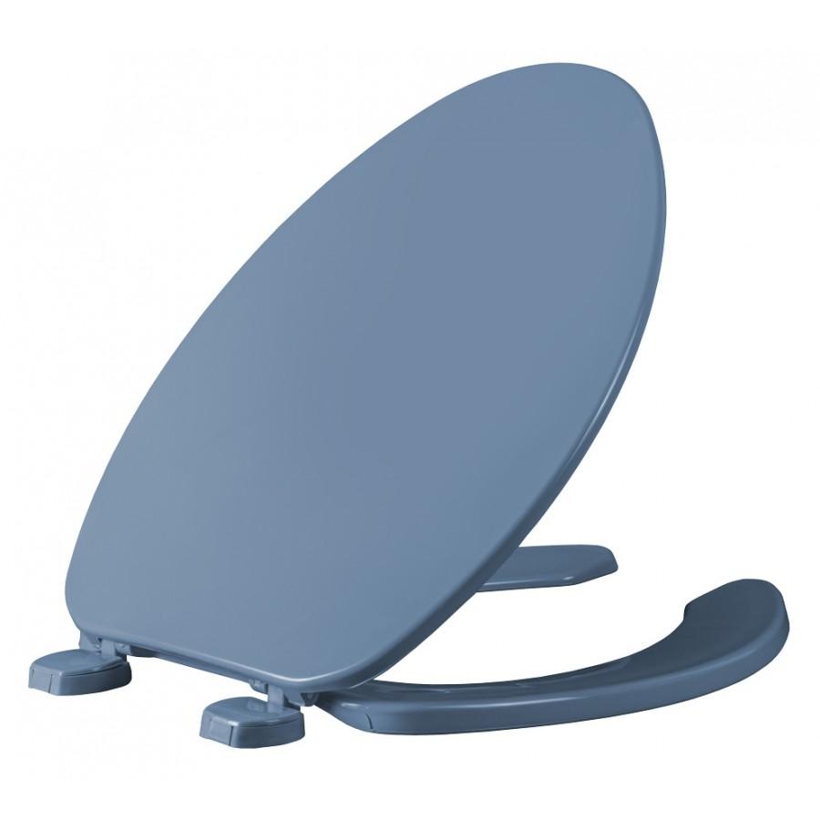 Asiento para baño color azul de plástico alargado con Bisagras Ajustables