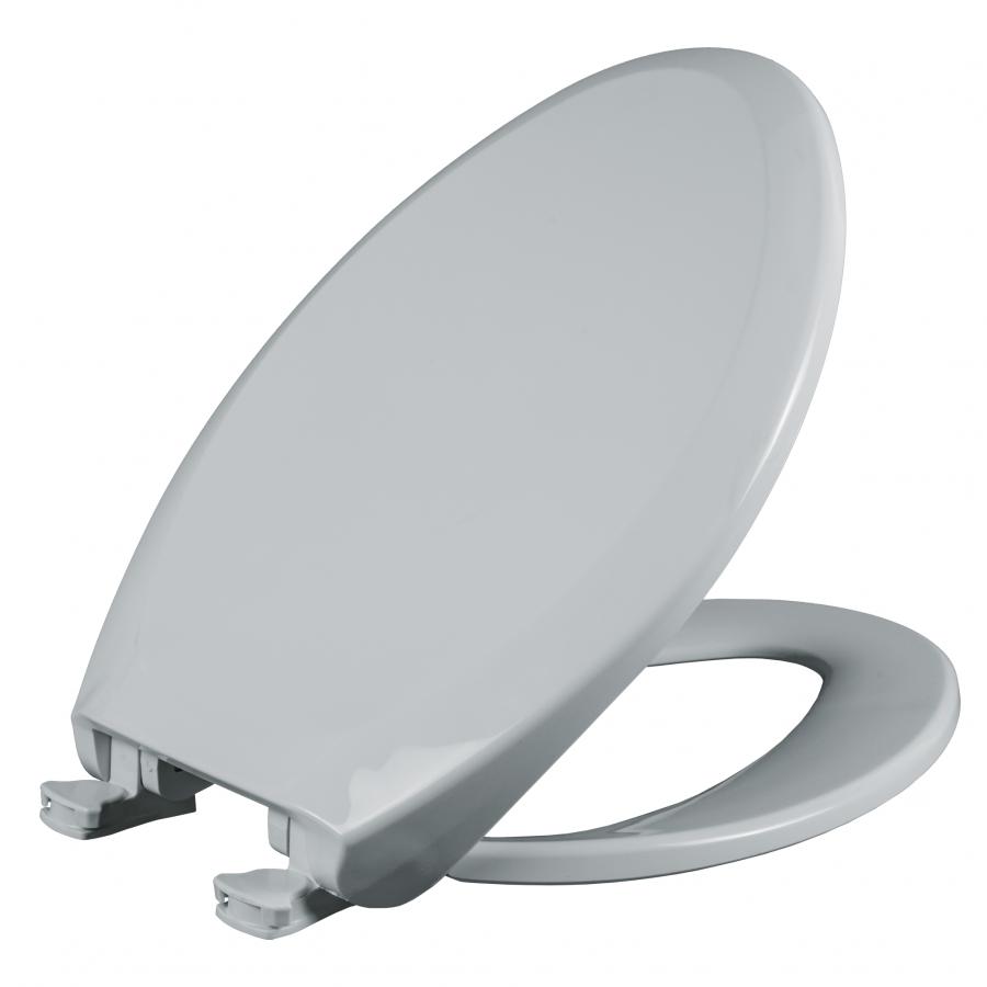 Asiento para baño alargado color blanco de plástico con Fácil Limpia & Cambia™ y Cierre Lento