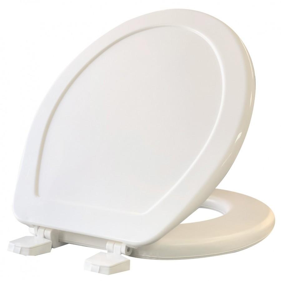 Asiento para sanitario redondo acolchado color blanco - ConfortLux