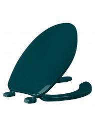 Asiento para baño color verde de plástico alargado con Bisagras Ajustables