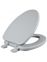 Asiento para baño alargado color blanco acojinado con Bisagras Ajustables
