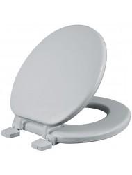 Asiento para baño redondo color blanco acojinado con Bisagras Ajustables