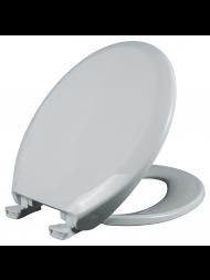 Asiento para baño redondo de plástico color blanco con Fácil Limpia & Cambia™ y Cierre Lento