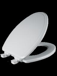 Asiento para baño alargado color blanco de Madera con Fácil Limpia & Cambia™ y Cierre Lento