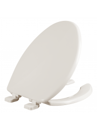 Asiento para baño alargado de plástico color hueso con PermAjuste™ y Cierre Lento™