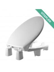 Asiento para baño alargado color blanco de plástico con ELEVACION