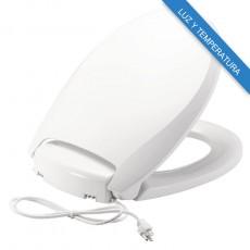 Asiento para baño alargado con ajuste de temperatura Radiance™ color blanco de plástico