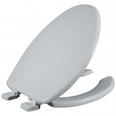 Asiento para baño alargado de plástico color blanco con PermAjuste™ y Cierre Lento™