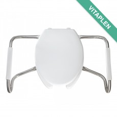 Asiento para baño alargado color blanco de plástico con brazos de acero inoxidable