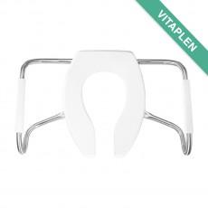 Asiento Sanitario Vitaplen de plástico, alargado, frente abierto sin tapa y brazos de acero inoxidable para tráfico pesado.
